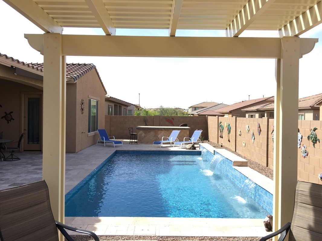 Pergola ramada desert soul landesign pools landscape Swimming pool companies in phoenix az