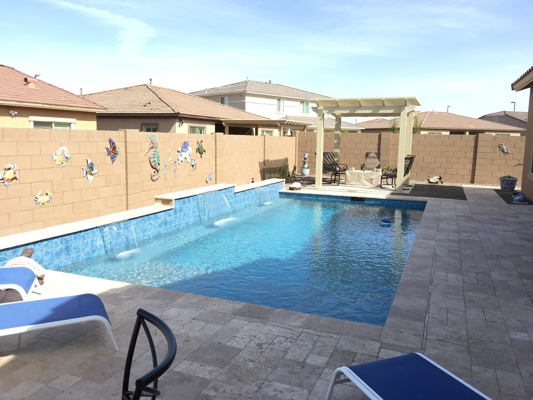 Pergola ramada desert soul landesign pools landscape for Arizona swimming pools