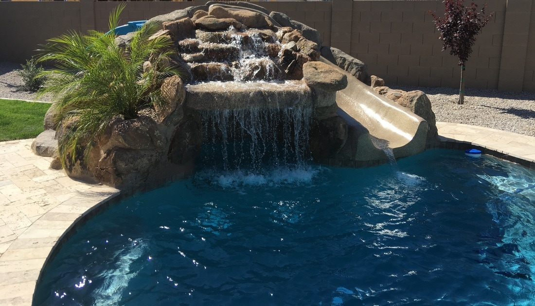 grotto slide desert soul landesign pools landscape - Swimming Pools With Grottos