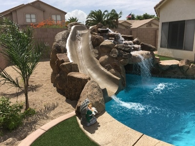 Grotto slide for Pool builders queen creek az