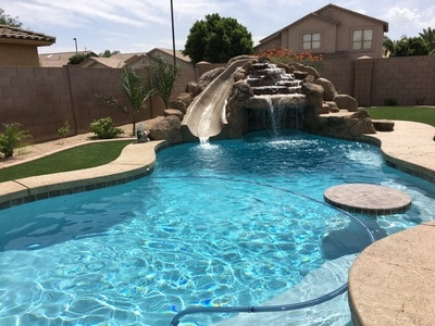 Grotto slide for Swimming pool finance companies